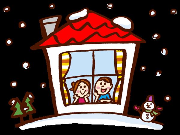 雪の中の住宅